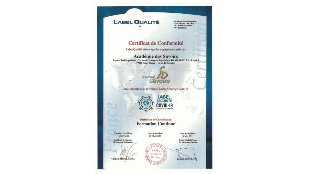 Label qualité sécurité covid-19
